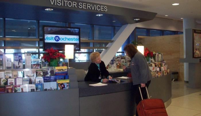 Greeting visitors at the Rochester Airport