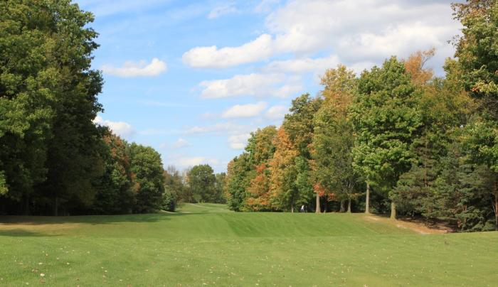 Rolling hills along a fairway at Victor Hills Golf Course