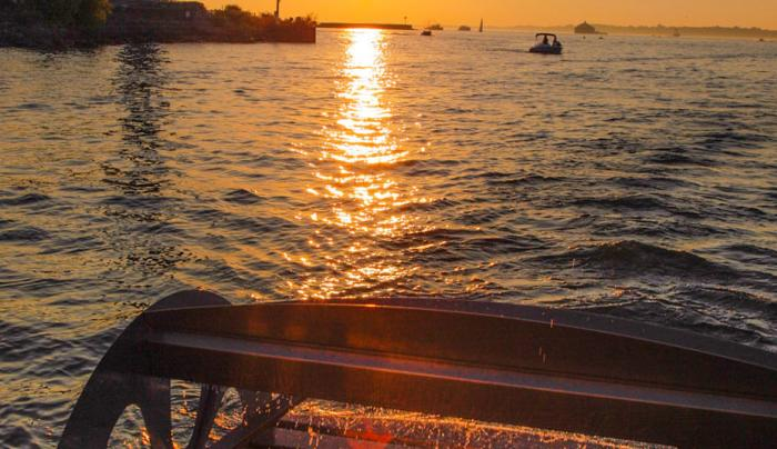Buffalo Pedal Tours- enjoy watching the sunset from our cycleboat