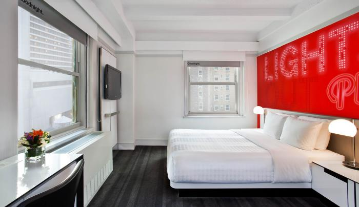queen guest room at Row NYC