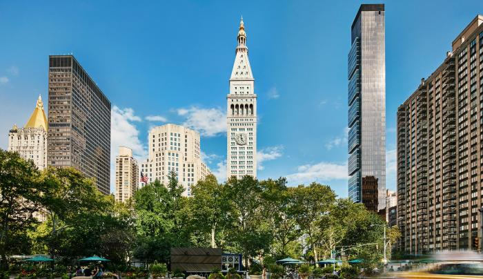 Exterior- street view from eataly of The New York Edition in flatiron