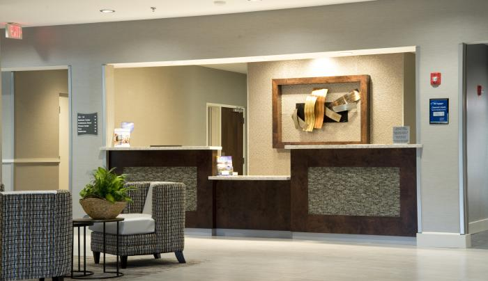 Lobby Seating & Front Desk