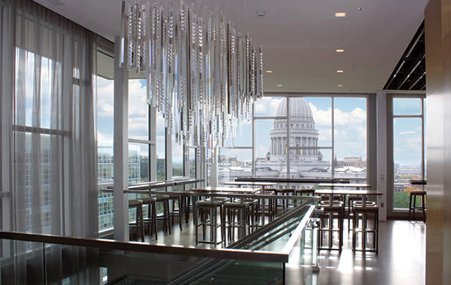 A view of the capitol building from inside Eno Vino at the AC Hotel