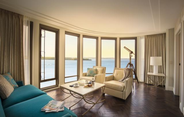 A view of Lake Mendota from inside The Edgewater hotel