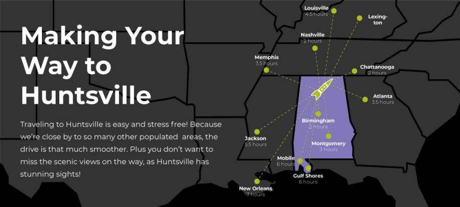 This Huntsville Driving Map shows just how close you are to Huntsville!