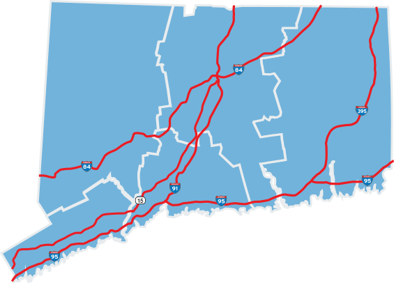 Map of Connecticut- By Car/Highways