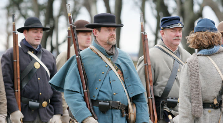 Civil War living history actors at the Anniversary of the Battle of Fort Fisher