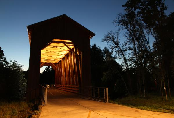 Chambers Railroad Bridge at Night by Traci Williamson