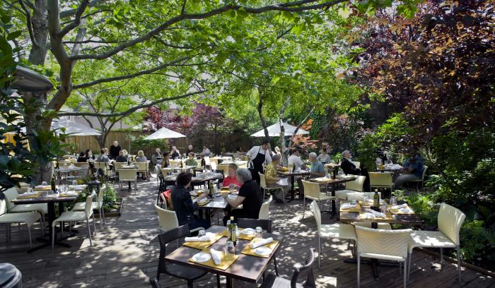 People dining on tree-covered patio at Piccolo Sogno in Chicago