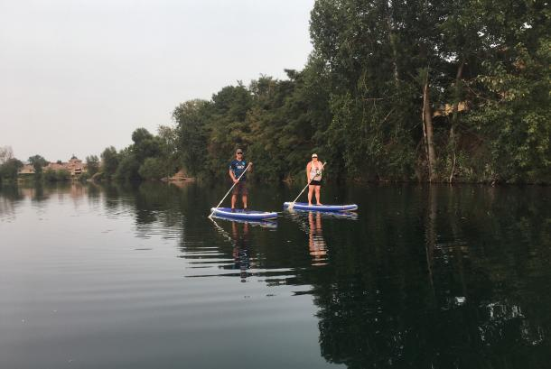 Urban paddling on calm water