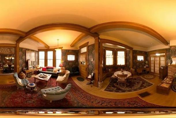 Panoramic interior view, main floor