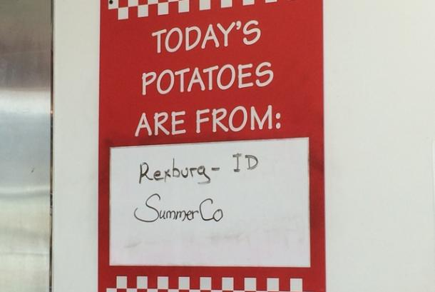 Five Guys Sullivan Today's Potatoes