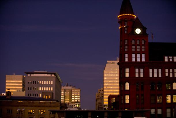 Downtown evening view with SR building