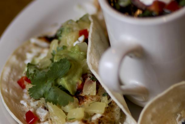 Fish Tacos with Black Bean Soup