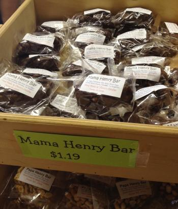 A bin of Mama Henry Bars at Henry's Candies in Kansas