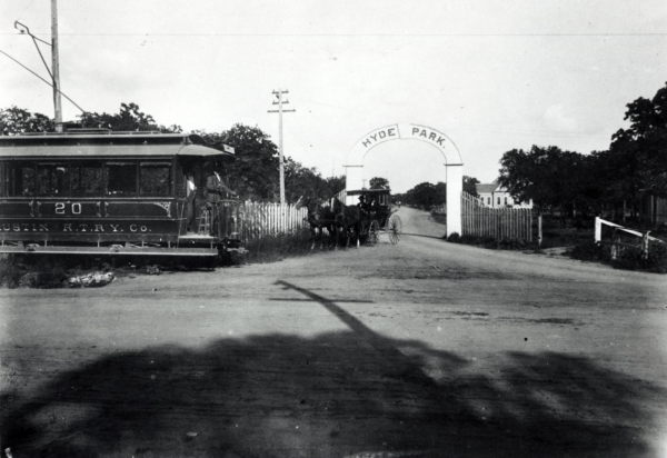 Gated Entrance to Hyde Park in the 1890s with streetcar