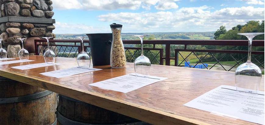 Heron Hill Winery's vaulted tasting hall and winery overlooking vineyards on Keuka Lake.