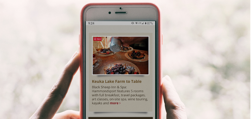 Black Sheep Inn's Finger Lakes Wine Country website Page Sponsor on an iPhone