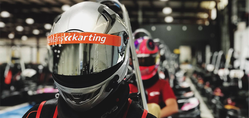 LeMans Karting Drivers on the race track in Greenville, SC