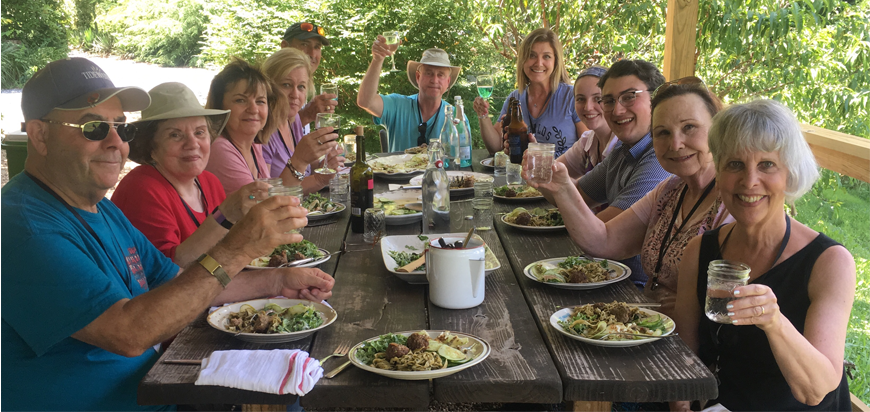 Asheville Farm to Table tour group enjoying lunch together.