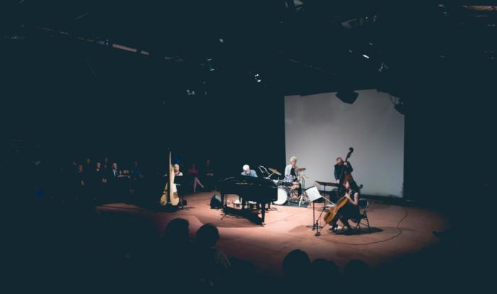 Jazz quintet performing on stage