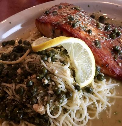 Salmon & Pasta at New York Pizza & Pasta