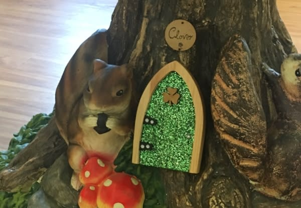 Green Irish Fairy door in the Dublin Visitor & Information Center