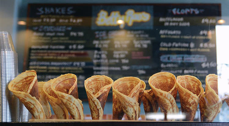 Waffle cones at Betty Rae's in Overland Park