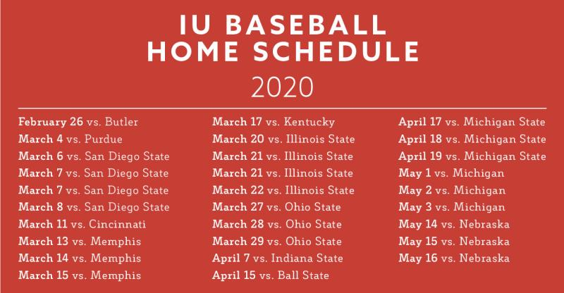 2020 IU Baseball Schedule