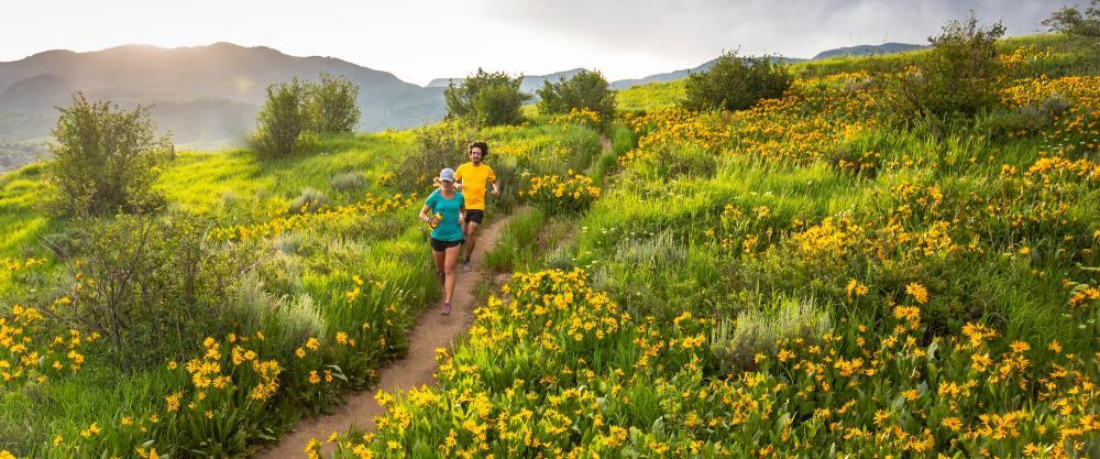 Trail Running in Steamboat Springs, Colorado in the early summer