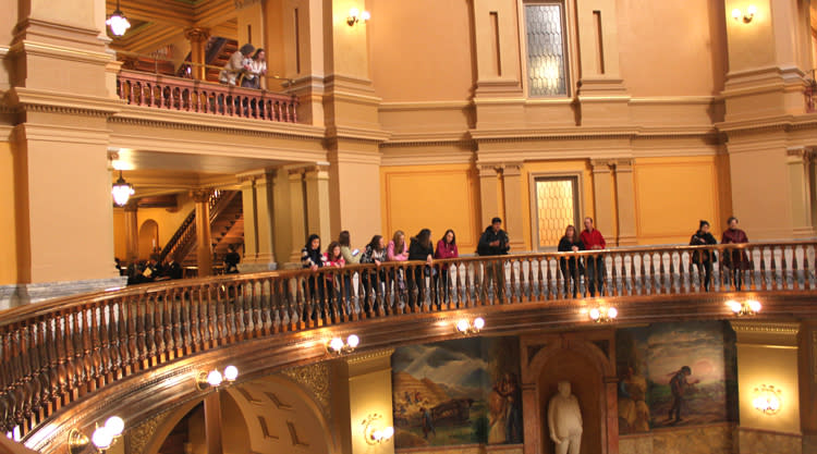 Looking over the balcony at Kansas Capitol