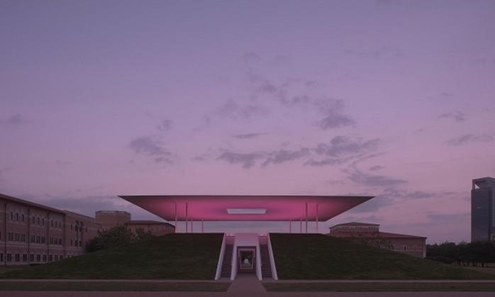 The Twilight Epiphany Skyspace structure by James Turrell at Rice University in Houston
