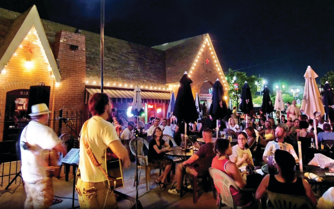A live band performs at night in front of a patio full of people at Mort's in Wichita