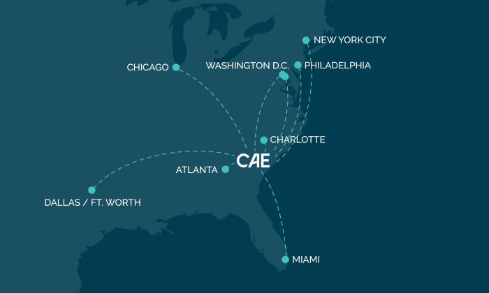 CAE Nonstop Flight Map
