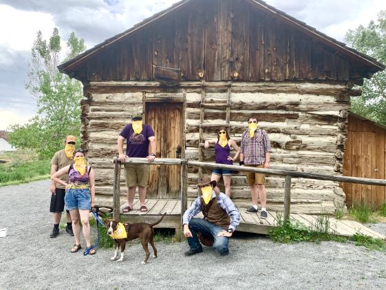 Tour Group Gathers at Reynolds Cabin