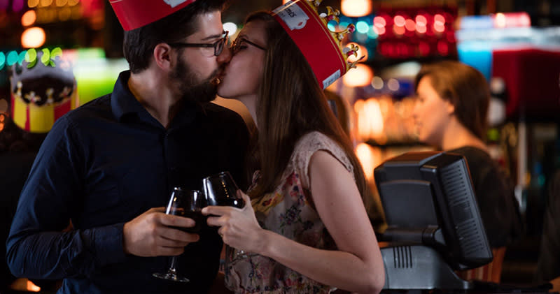 Couple at Medieval Times celebrating Valentine's Day