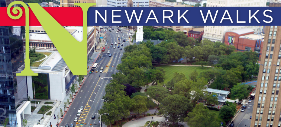 Aerial view of Newark with Newark Walks brand