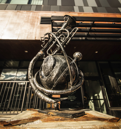 Trumphet/Music Sculpture on the Sculpture Tour Downtown Eau Claire