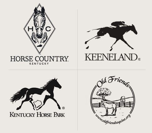 Logos for Horse Country, Keeneland, KY Horse Park and Old Friends Farm.