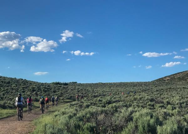 Group of mountain bikers ride along a trail