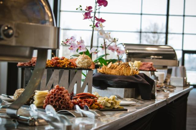 Catering by Memorial Coliseum in Conference Center lobby