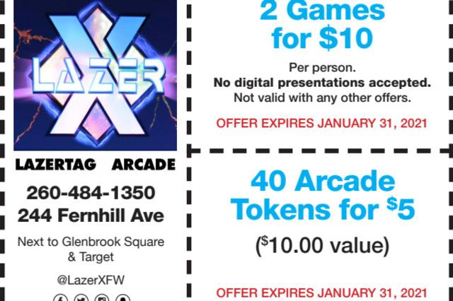 Coupon-2 Games for $10 per person