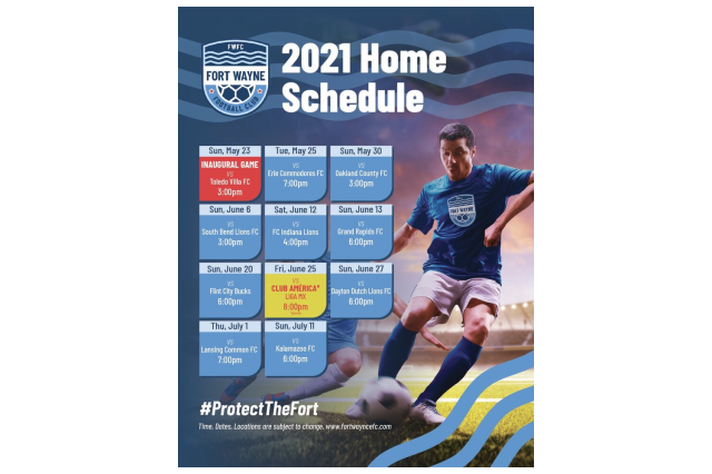 2021 Fort Wayne FC Home Game Schedule