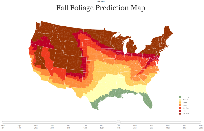 2019 Fall Foliage Prediction Map