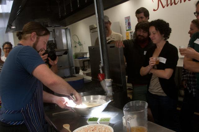 Chef Adam Pechal teaching a cooking class in Midtown Sacramento