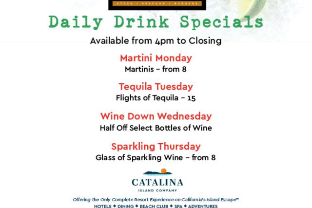 Avalon Grille Daily Drink Specials