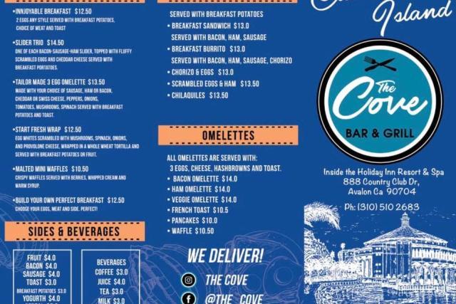 The Cove Bar & Grill Menu