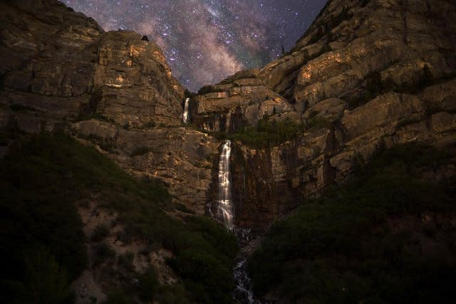 Bridal Veil Falls at Night with Stars