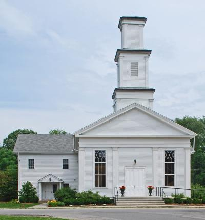 The historic white Dixboro United Methodist Church.