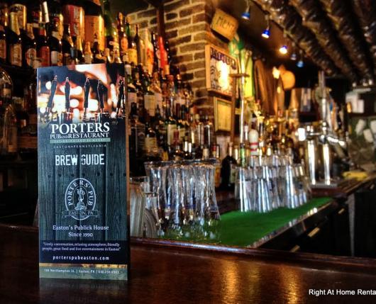 Porters Pub Bar Shot with Menu Sign